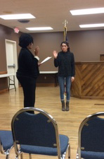 Samantha McKnight being sworn in as the local 46 Rep to the Central Labor Council
